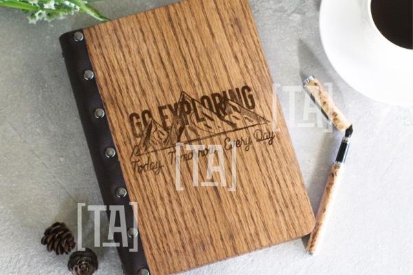 """Деревянный блокнот """"Go exploring"""""""